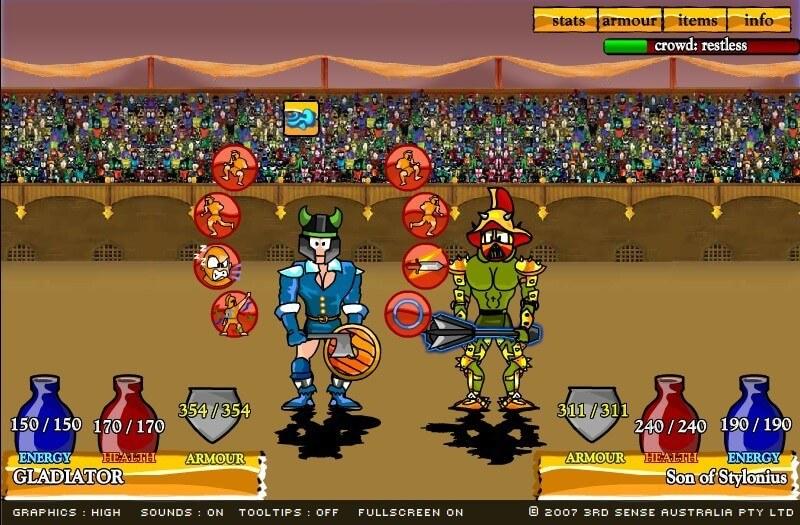 Gladyatör 2 oyununu oynayın ve savaşçılara meydan okuyun!